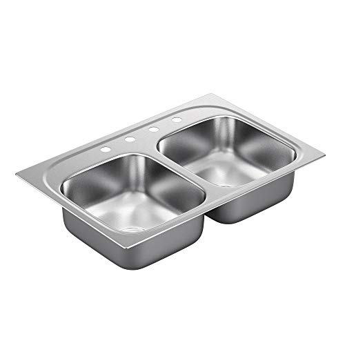 Moen G182154Q 18 Gauge Drop-In Double Bowl Stainless Steel Kitchen Sink with Two Dimensionally Equal Bowls, Stainless Steel