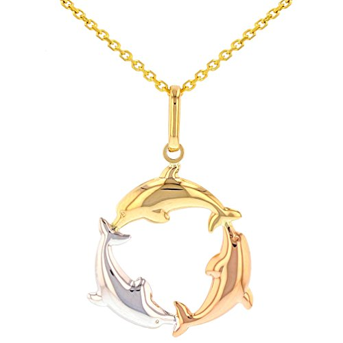 Polished 14K Tri-Color Gold Kissing Dolphin Circle Pendant Necklace, 22