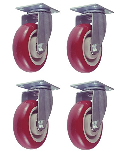 Polyurethane Swivel Caster - Online Best Service 4 Pack Caster Wheels Swivel Plate Casters On Red Polyurethane Wheels (4 inch Plate)