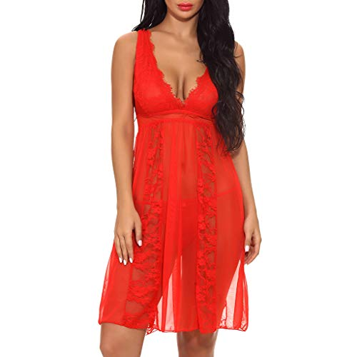 Suma-ma Plus Size Women's Sexy Long Lace Lingerie Nightdress Sheer Gown Chemise G-string (Red,XL)