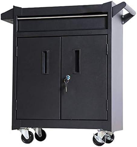 ローラーキャビネット 自動車修理ツールトロリーツールボックスワークベンチワークショップツールティン・キャビネット工場 ツールトロリー (色 : Black, Size : 52x28x70cm)