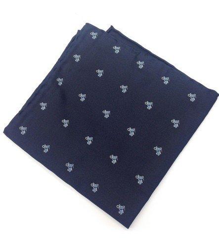 Real Luxury Napoli Mouchoir de poche sur mesure en soie Bleu avec motif guêpe bleu ciel