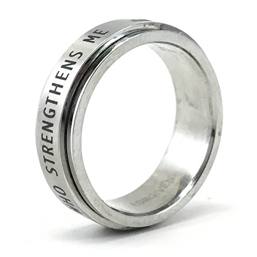 (Forgiven Jewelry RSS7 I Can Do All Things Stainless Steel Spinner Ring Size 6-Christian Jewelry)