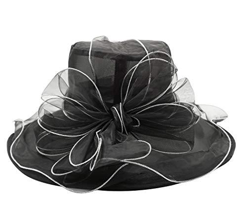 Bellady Women's Organza Church Kentucky Derby Fascinator Bridal Tea Party Wedding Hat,Black Church Hat,One Size