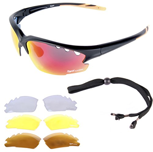 Rapid Eyewear Expert Cycle MULTI LENS SUNGLASSES FOR CYCLING Polarized, Clear & Low Light Lenses Included. For Men & Women. UV 400 Anti Glare Glasses Optics. Also For Running & - Uk Sunglasses Running