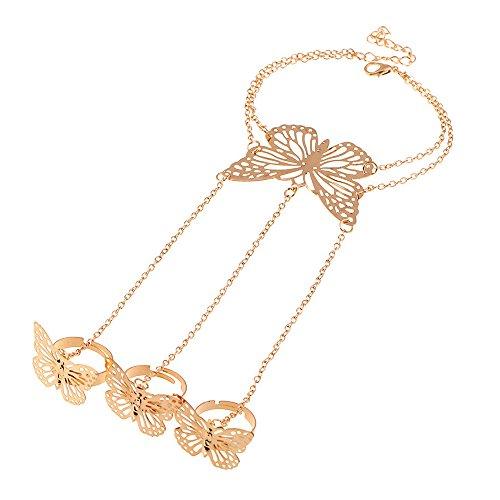 Winter's Secret Gold Color Simple Hollow out Even the Butterfly Bracelet the Back of Hand (Zebra Trivet)
