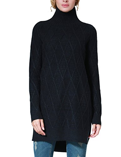 Rocorose Women's Slit Mock Neck Cable Knit Tunic Sweater Deep Blue M