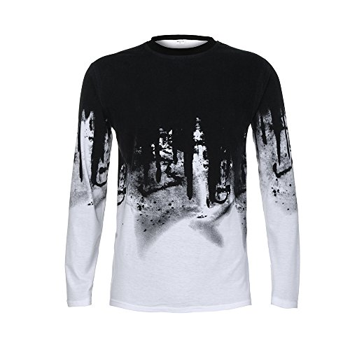 Mens Gradient T-Shirt,Realdo Color Long Sleeve Crewneck Muscle Long Sleeve Blouse Tee Shirt Top(White,XXX-Large) (Wool Patterns Patons Free)