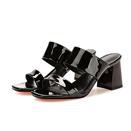 Sandals Open Toe Thick Heel Shoes PU Upper Ms Summer Slippers Black WuZVP