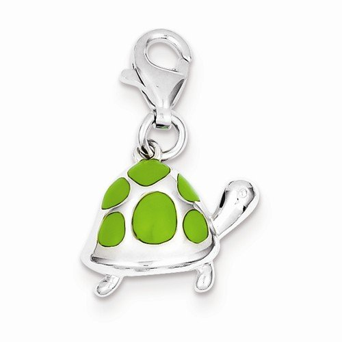 Solid 925 Sterling Silver Pendant Green Enameled Turtle Charm (15mm x (Green Enameled Turtle)