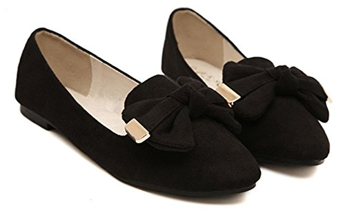 IDIFU Women's Comfy Suede Bow Pointy Slip On Flats Work Shoes Wide Width Black 4 B(M) US by IDIFU