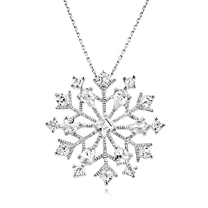 3.65 Carat tw White Sapphire Snowflake Pendant in Sterling Silver with Chain