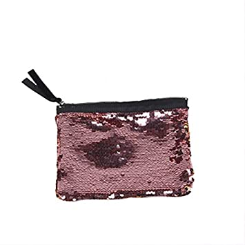 d69ce22e331 Image Unavailable. Image not available for. Color: Magic Reversible Mermais  Sequin Cosmetic Handbag Bling Glitter Evening Party Clutch Purse (Pink Gold)