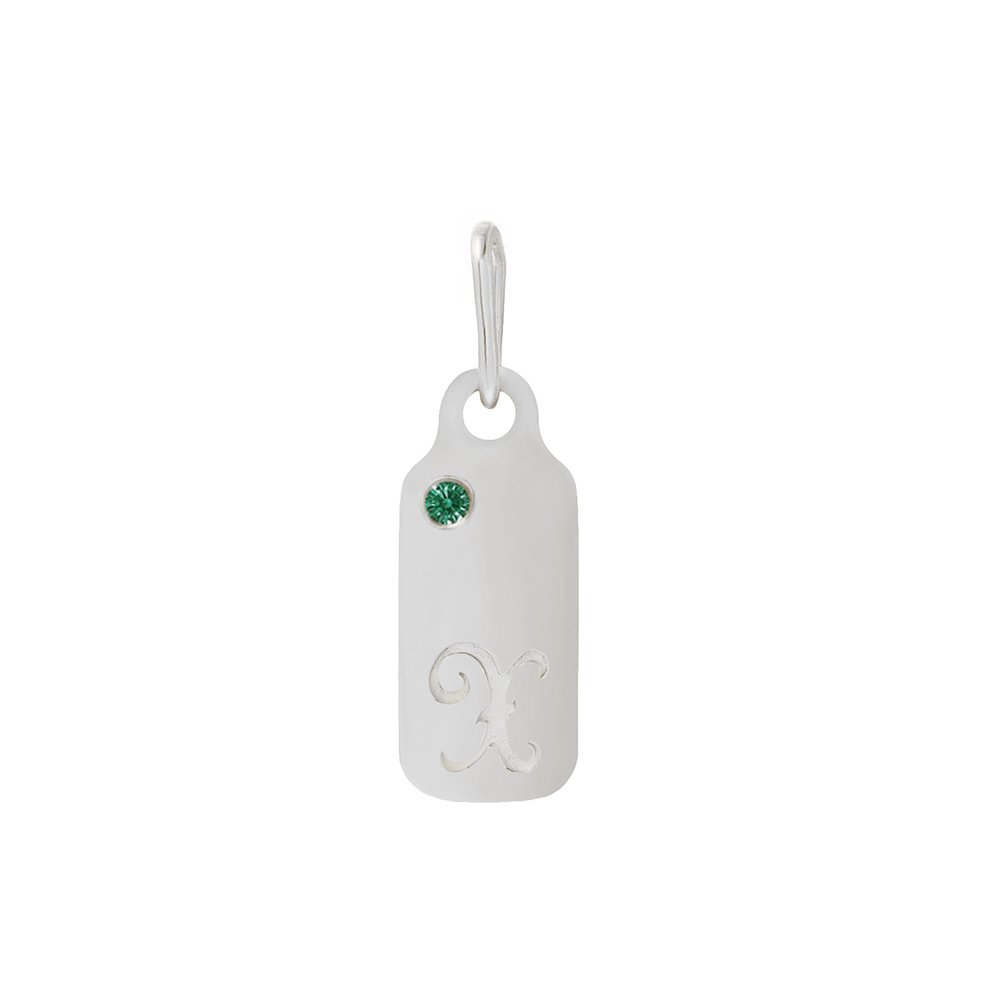 14k Gold Emerald May Birthstone Cursive Letter X Dog-tag Necklace