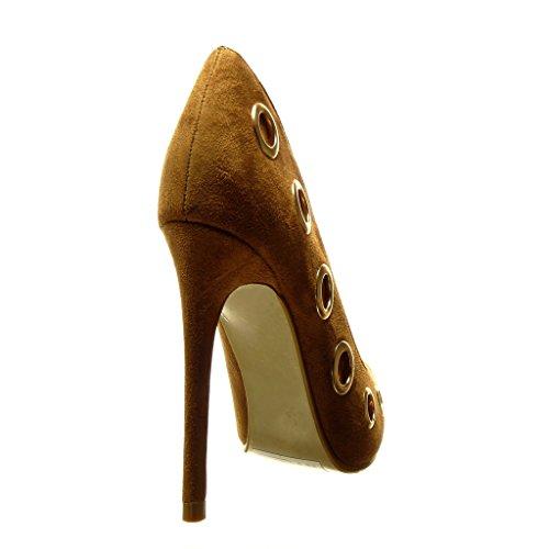 Decollete Borchiati Scarpe Stiletto Metallico Donna Moda Cm Angkorly Cammello Tacco Sexy Alto 10 TdEqxwOqn1
