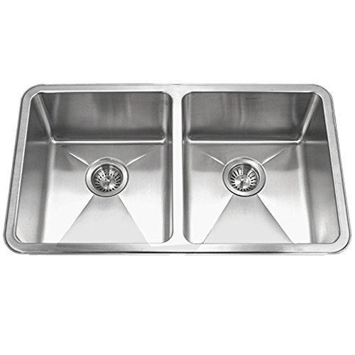 (Houzer NOD-4200 Nouvelle Series 25mm Radius Undermount Stainless Steel 50/50 Double Bowl Kitchen Sink by HOUZER)