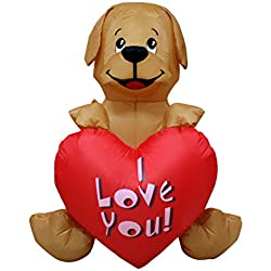4 Ft Inflatable Valentine Day Puppy Dog Wedding Anniversary Party Light Decoration with Sweet Heart Brown