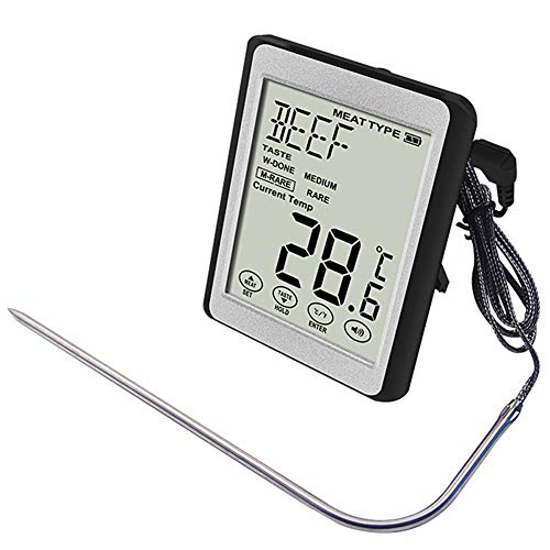 Large LCD Digital Cooking Food Thermometer Instant Read Meat Thermometer for Smoker Oven Kitchen BBQ Grill Thermometer Clock Timer with Stainless ()