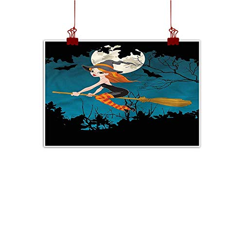Mangooly Wall Art Painting Print Witch,Spooky Woodland Halloween 48