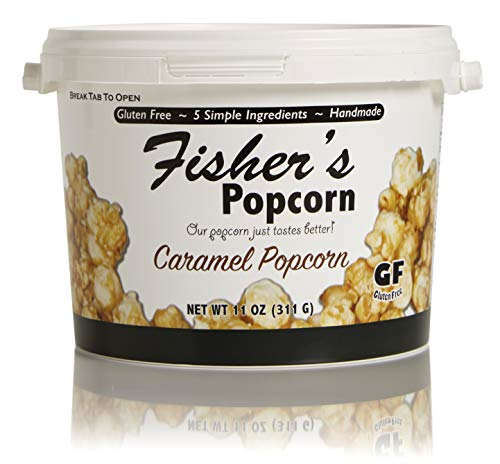 Fisher's Popcorn Caramel Popcorn, Gluten Free, 5 Simple Ingredients, Handmade, No Preservatives, No High Fructose Corn Syrup, Zero Trans Fat, 11oz Tub (1/2 Gallon)