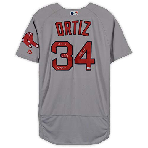 David Ortiz Boston Red Sox Autographed Game-Used Grey Jersey vs. Baltimore Orioles on August 16, 2016 with Multiple Inscriptions - Fanatics Authentic - Baltimore Orioles Game Final