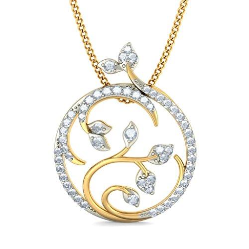 Or jaune 18K 0,4CT TW Round-cut-diamond (IJ | SI) Pendentif