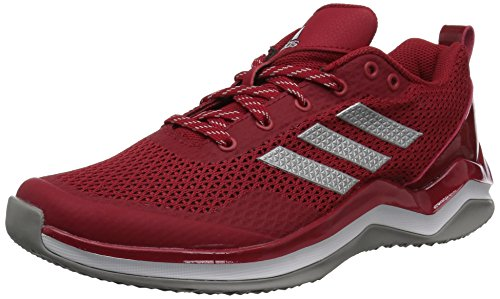 adidas Men's Freak X Carbon Mid Cross Trainer, Power RED/Metallic Silver/White, 3 Medium US Big Kid ()