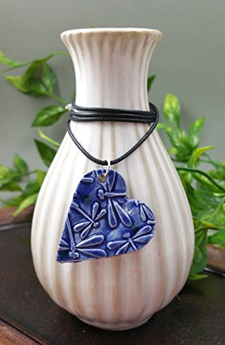 Essential Oil Diffuser Necklace Aromatherapy Perfume Ceramic Clay Artist Heart Pendant in Lagoon Blue Dragonfly on a Black Waxed Cotton Necklace