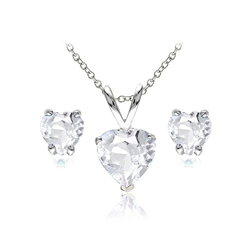 Sterling Silver Aquamarine Heart Solitaire Necklace and Stud Earrings Set