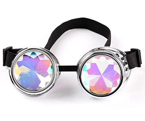 Gafas de estilo vintage Steampunk con lentes de caleidoscopio para cosplay fresco, decoración etc. Color Negro. plata claro