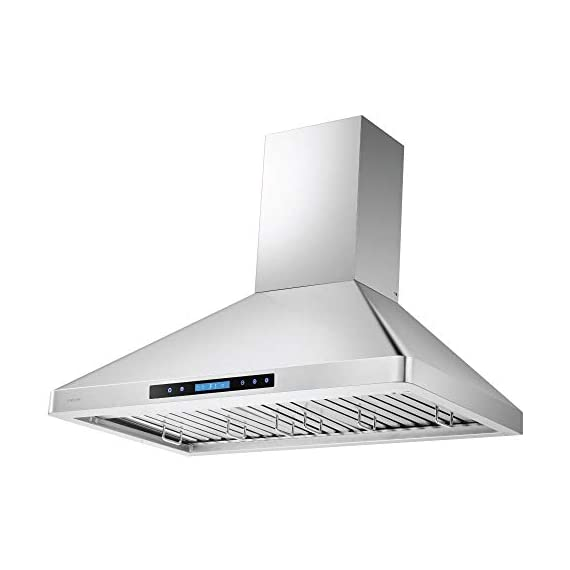 """CAVALIERE 36"""" Inch Wall Mounted Stainless Steel Kitchen Range Hood 900 CFM 4 900 CFM: More powerful then most competitors, this exhaust system is made for heavy duty cooking that removes grease, odors and potentially toxic pollutants from the air in your kitchen Designed with a Whisper quiet single chamber centrifugal blower. The noise level is at 25 decibels on the lowest setting and 56 decibels on the highest speed setting. Built to Last: Commercial grade heavy duty 19 gauge stainless steel construction is non-magnetic and rust proof with a brushed finish. 6"""" inch round ducting comes from the top of the range hood and a adjustable chimney accommodates a 8' ft to 9' ft ceiling. If your ceiling height is above 9' ft, then a higher chimney extension is required. ( Sold Separately)"""