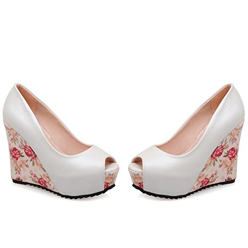 RAZAMAZA Mujer Moda Verano Peep Toe Plataforma Alta Tacon de Cuna Sandalias Zapatos Blanco