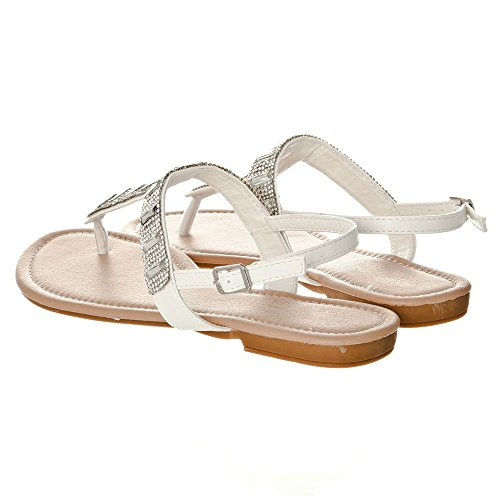 Sandals Diamante Shoes T Sandals Flat Post Ladies Toe White Bar Party Holiday wtYq1wxE