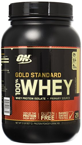 Optimum Nutrition Gold Standard 100  Whey Protein Powder  Vanilla Ice Cream  2 Pound