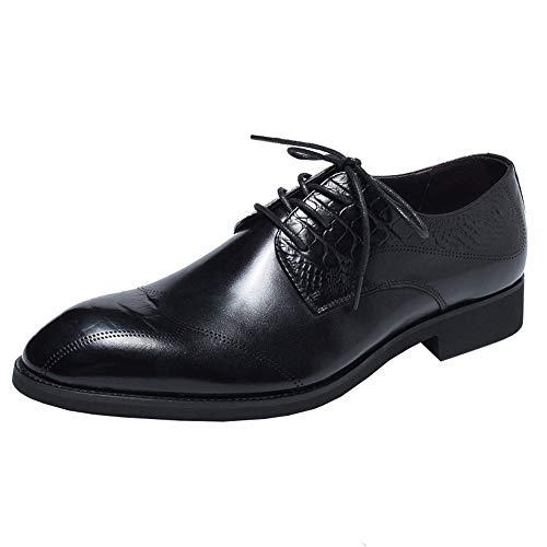 Genuino Zapatos Punta Negocios Redonda 44 Rojo Cuero Tamaño Hombres Con Ala Eu Formales De Para Qiusa color Negro Derby Cordones BXqnRp4R