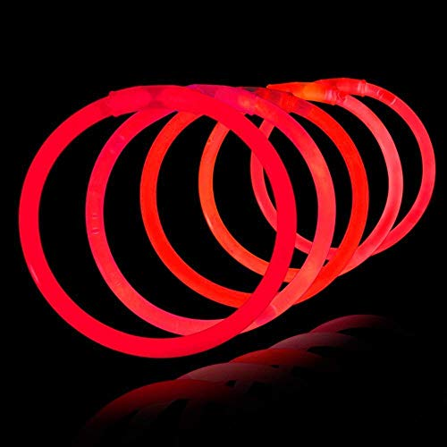 Lumistick 8 Inch 100 Pack Glow Sticks - Bendable Glow Sticks with Necklace and Bracelet Connectors - Glowstick Bundle Party Bracelets Best for Parties, Events and Holidays (Red, 100)]()