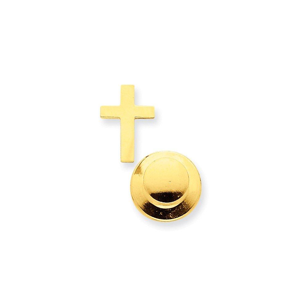Mia Diamonds 14k Yellow Gold Polished Cross Tie Tac
