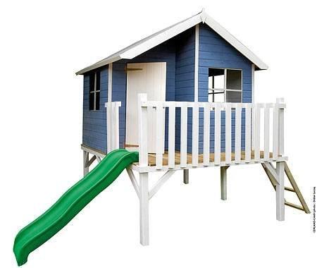 """Baumotte Spielhaus Holz - Kinderspielhaus """"Max"""" mit Rutsche Stelzenhaus"""