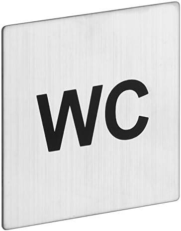 ROSTEX Edelstahl WC Schild Allgemein Toilette Eckig Piktogramm selbstklebend quadratisch