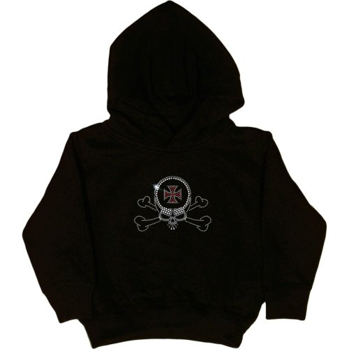 (TODDLER HOODY : BLACK - 2T - Chopper Skull - Rhinestones)