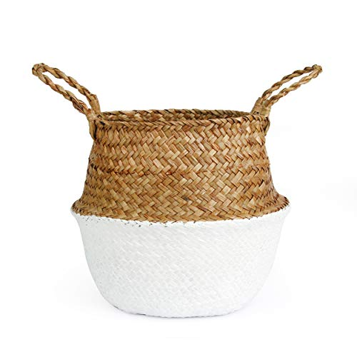 BlueMake Woven Seagrass Belly Basket for Storage, Laundry, Picnic, Plant Pot Cover, and Grocery and Toy Storage (Large, White) (Basket Rattan White)