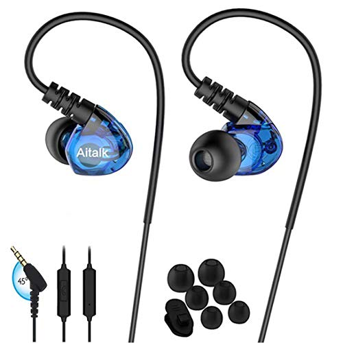 Earbud Headphones in Ear E260 Stereo Bass Sweatproof Earphones Sports Earbuds with Romote and Microphone Over Ear Hook Wired Noise Isolating Fitness Ear Buds for Running Gym iPhone iPod Samsung Blue