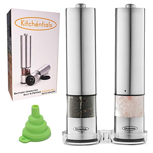 Kitchentials Stainless Steel Electric Salt and Pepper Grinder Mill Set Battery Operated with LED Light Funnel and Holder Stand with Adjustable Coarseness