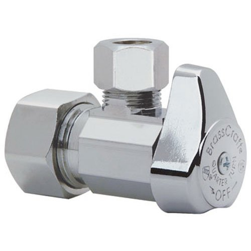 BrassCraft G2CR19X C1 1/2 in. NOM Comp Inlet x 3/8 in. OD Compression Outlet Chrome Plated Brass 1/4 Turn Angle Valve ()