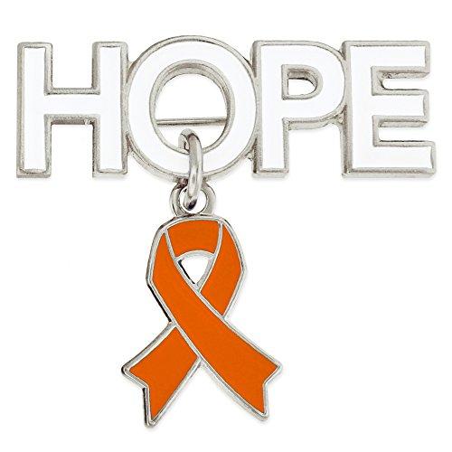PinMart's Hope with Orange Awareness Ribbon Charm Enamel Brooch Pin