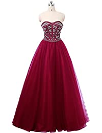 87acc02a5a6 Meilishuo Women s Sweetheart Beading Prom Party Ball Gowns Tulle Quinceanera  Dresses Puffy