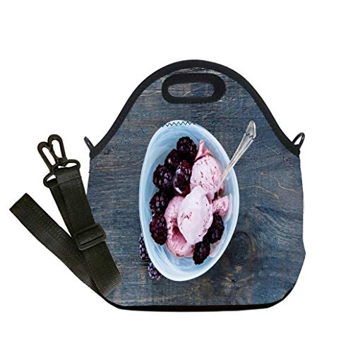 3D Print Neoprene Reusable Cooler Fashion Lunch Bag Homemade blackberry ice cream Student Company School, Multicolor, Adults and Children