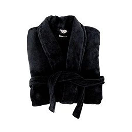LADIES PREMIUM TURKISH DELUXE MICROFIBRE LUXURY BLACK DRESSING GOWN ...