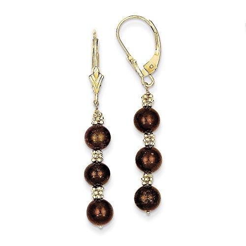 Brown Fw Gold Pearl (Genuine 14k Coffee Brown FW Cultured Pearl & Bead Earrings 40 x5mm)