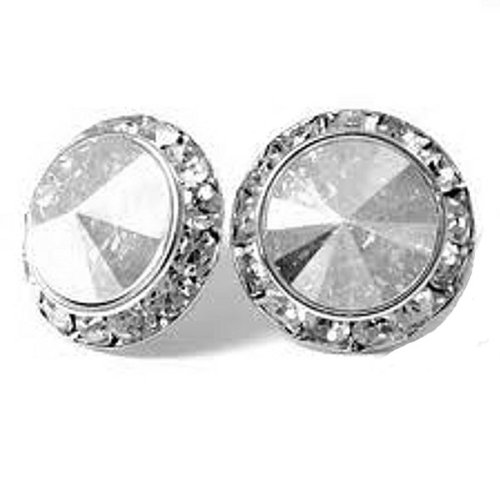 Clip on Rhinestone Button Stud Earrings 11mm in Vintage Style with Quality Sparkles ()